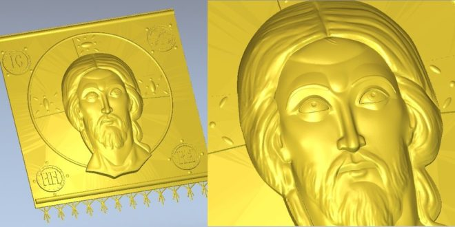 Icon of Jesus Christ 3d model for cnc STL format Religion 3d