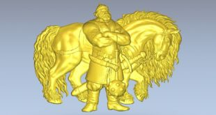 Warrior with his horse STL Model file Relief