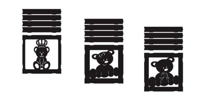 Bear frames for kids room dxf cdr corel artcam files to download
