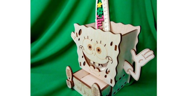 Sponge Bob 4mm pen holder and office objects dxf cdr vectors