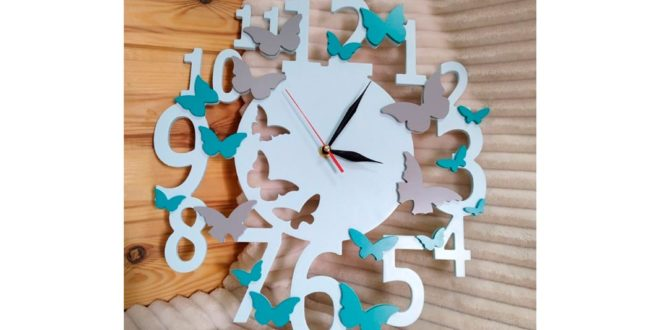 Clock decorated with butterflies CDR DXF vector to download