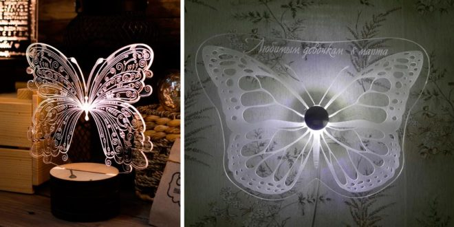 Butterfly 3D illusion acrylic decoration laser file cut cdr dxf vectors
