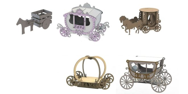 Pack Carriage vehicle decoration mdf laser cut dxf cdr corel files
