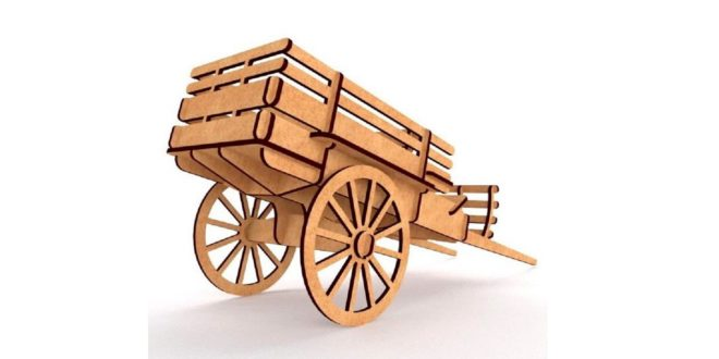 3d wagon cart file dxf to cut laser mdf wood