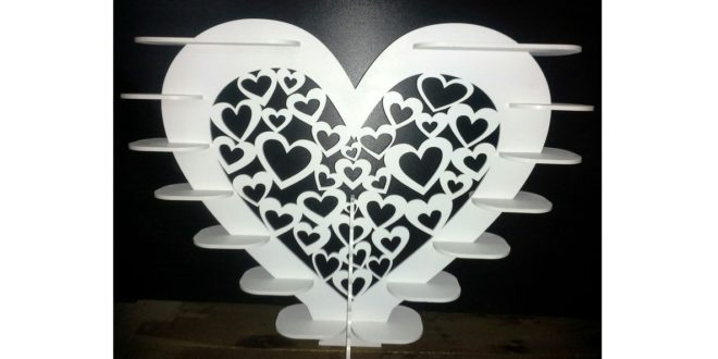 Heart holder for candy 4mm laser cut dxf cdr file
