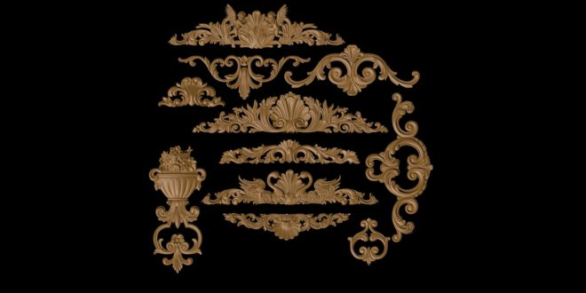 Ornamental reliefs package for decoration 3D STL Files to cnc router artcam vcarve vectric