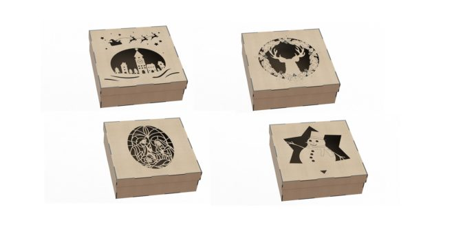 Vectors CDR DXF Kit Christmas boxes with 4 models with 4 sizes each with a thickness of 3mm