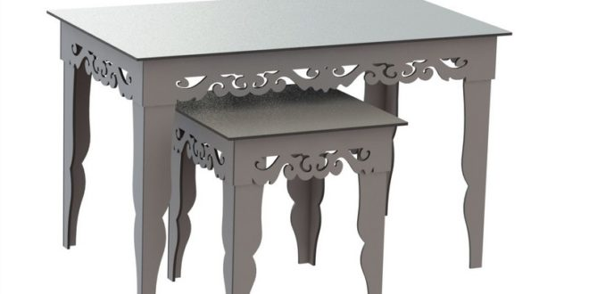 Vintage Nesting Tables 9mm vector to cnc router or laser dxf file