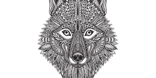 Wolf or fox husky dog CDR Vector engraving