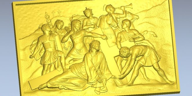 Jesus Christ cross soldiers STL File Panel ready for cnc milling machining