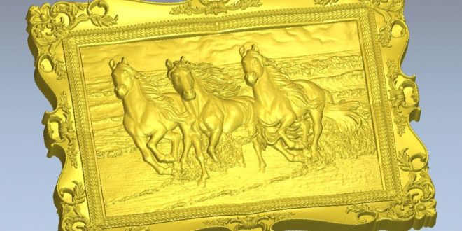 Frame with 3 running horses stl file for cnc router softwares