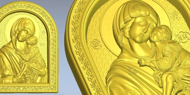 Religious 3d vector stl saint with child