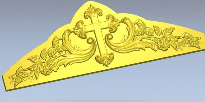 STL Ornamental cross panel for churches relief for cnc machining