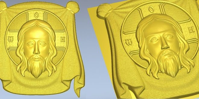 relief 3d jesus christ icon for CNC Router Artcam Cut3D Aspire VCarve