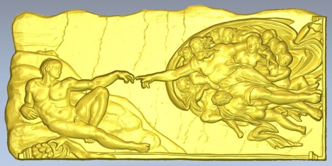 The Creation of Adam by Miguelangelo 3d model cnc
