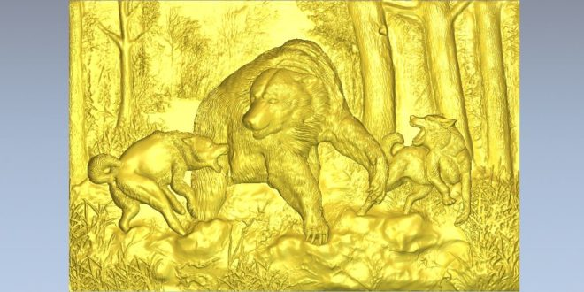3d STL File Relief Wolves attacking bear animals forest