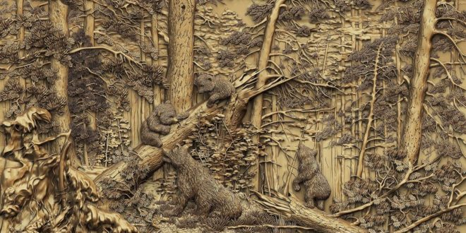 Bear cubs in the forest relief artcam vcarve cut3d