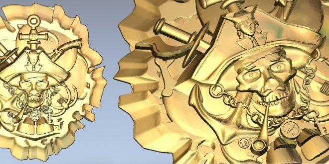 Pirate skull stl file model relief