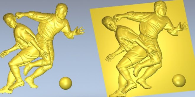 Soccer players sport 3d relief to CNC carving wood