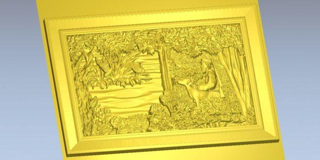 Carved hunter panel frame stl file to cnc milling