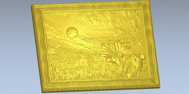 Nature carved panel frame relief cut 3d