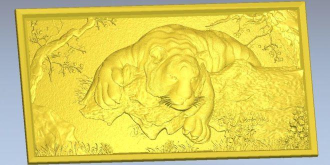 Carved panel file feline tiger