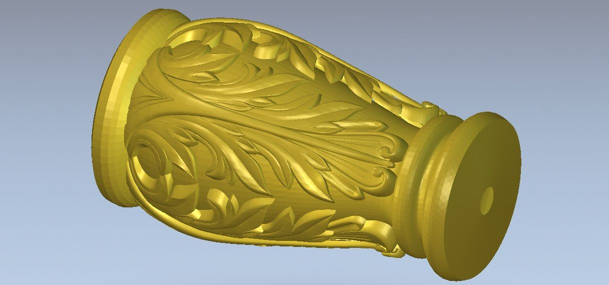 Decorative vase 4 axis 3d model relief for cnc in STL file format