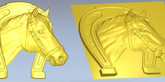 Horse head with horseshoe 3d print stl cnc file