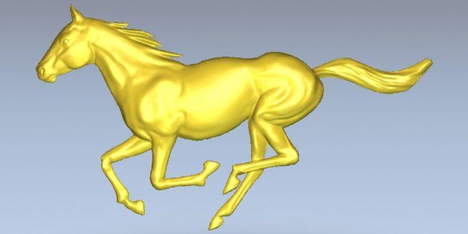 Running horse cnc file vector 3D cut relief