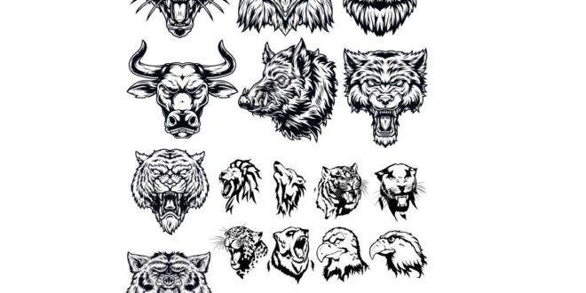 2d animals heads CDR file to for laser engraving