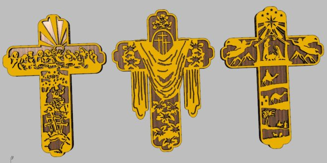 Religious theme 3 cross with holy supper