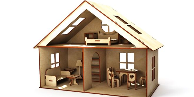 3mm laser cut wood Furnished House Doll's house for children