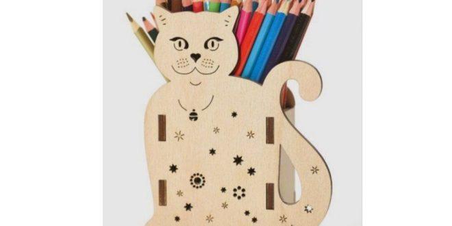 Pencil pen holder cat