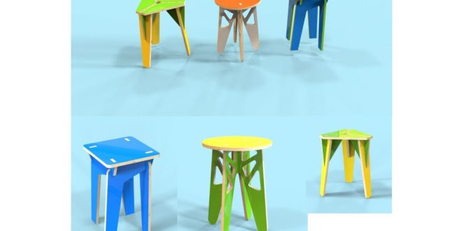 3 stools with 15mm thickness vectors for cnc router