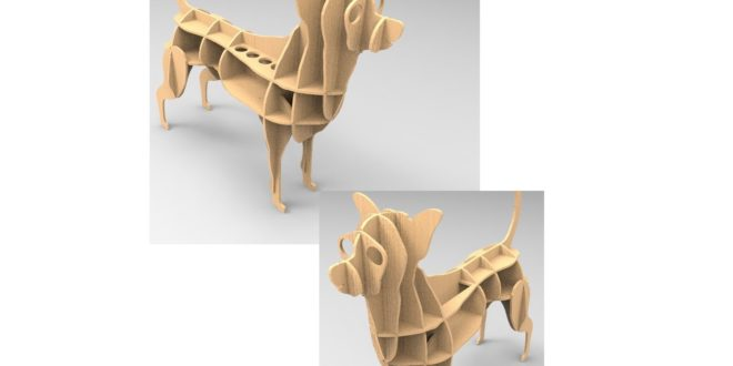 Chihua 3mm dog animal template vector to laser cut plan