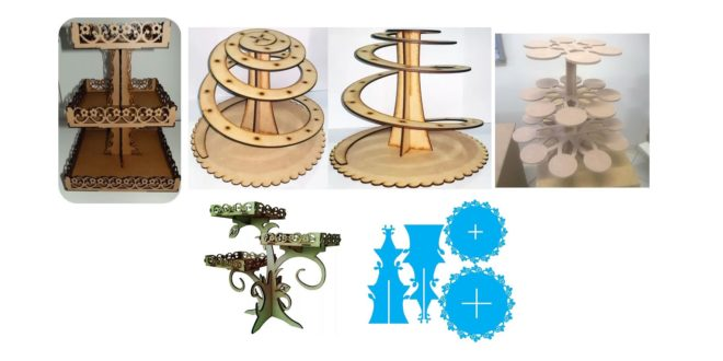 Vectors DXF Cupcake & Party Candy Stands pack 5 models to cut