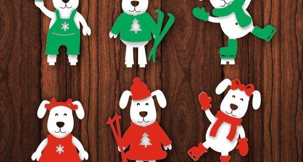 Dogs christmas snow cdr dxf (separate parts)