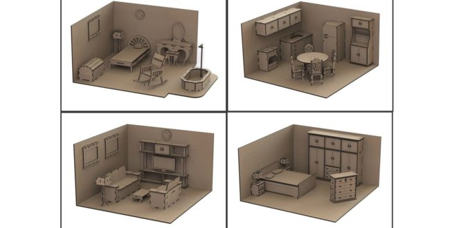 Pack vectors laser cut doll's house furniture cdr dxf files