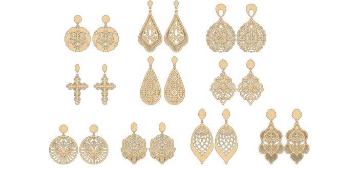 10 models of earrings CDR file