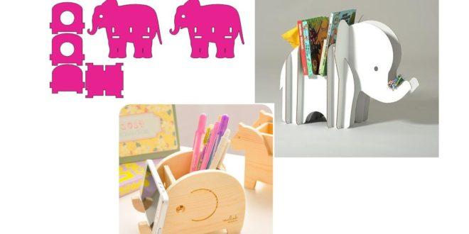 3 models of little elephants object holder dxf cdr