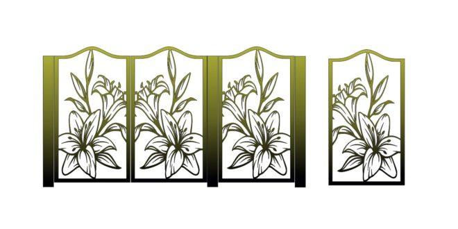 DXF laser cut file Flower sticker panel separator pattern screens