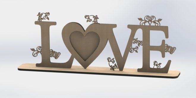 Love picture frame photo decoration dxf vector