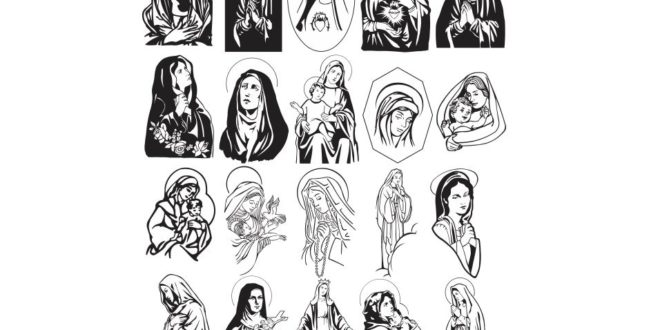 Pack 20 Vectors Mary mother of Jesus religious cdr corel X8 file