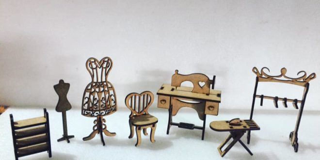 Sewing studio miniature vector to laser cutting
