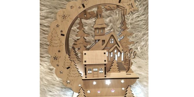 Laser cutting and engraving dxf cdr New Year's Lamp