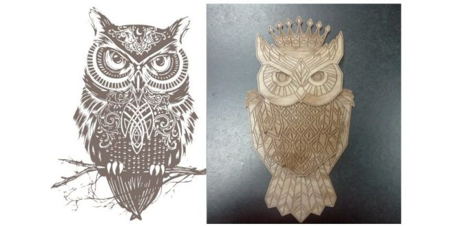 Owl for laser cutting and engraving cdr dxf