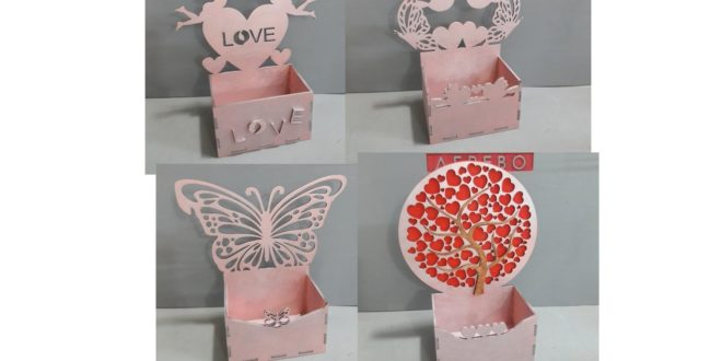 Package with 4 boxes for cnc router or laser cutting butterfly heart cupid love