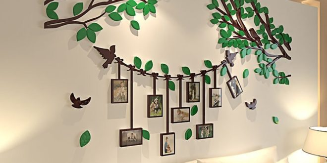 Photo tree panel birds wall decoration cdr dxf files
