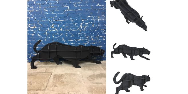 Puma feline animal decorative object holder cdr dxf vectors