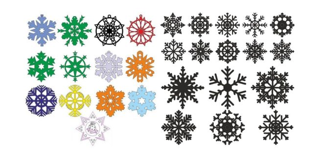 Snowflakes christmas decoration vectors cdr dxf